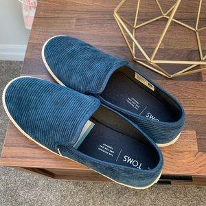 Blue Chorduroy Toms Shoes